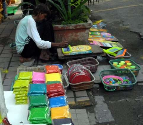 plastic cover in rangoli