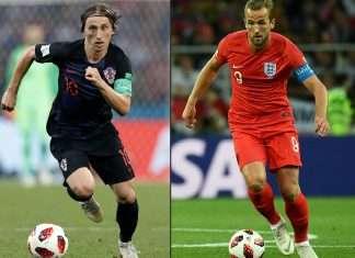 Croatia's Luka Modric against England's Harry Kane