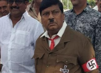 tdp mp appear at parliament in hitler costume