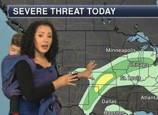 babywearing week: Anchor Meteorologist straps baby to her back during broadcast
