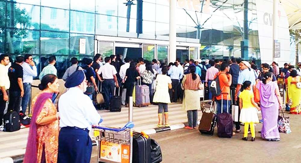 Air India ground staff on strike at Mumbai airport