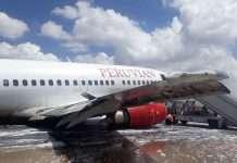 Peruvian Airlines plane skids on runway in Bolivia