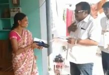 candidate hands over slippers to voters for hit him if he fails his promise