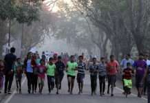 childrens come for jogging at national park