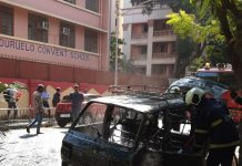 fire breakout in van outside of duruelo Convent School in bandra