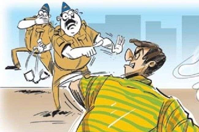 man beat police