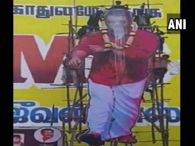 cut out of actor Ajith collapsed
