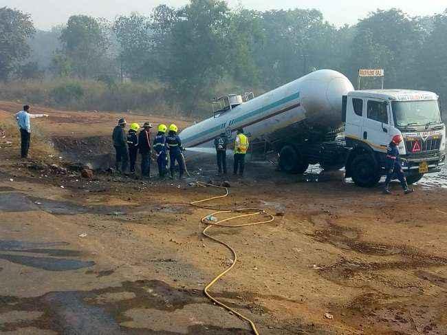 Gas tanker accident on Mumbai-Goa Highway