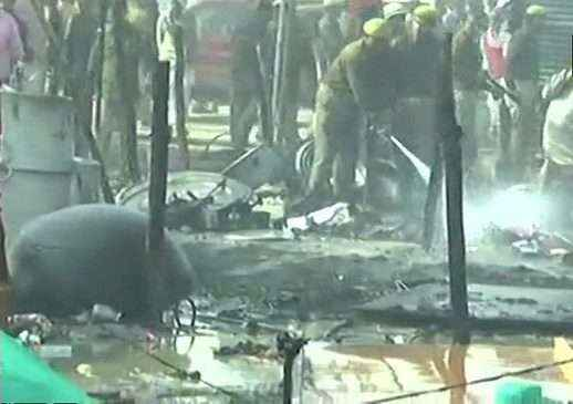 Fire breaks out at a camp of Digambar Akhada