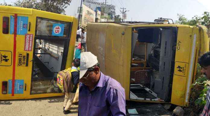 students are injured in pune school bus accident