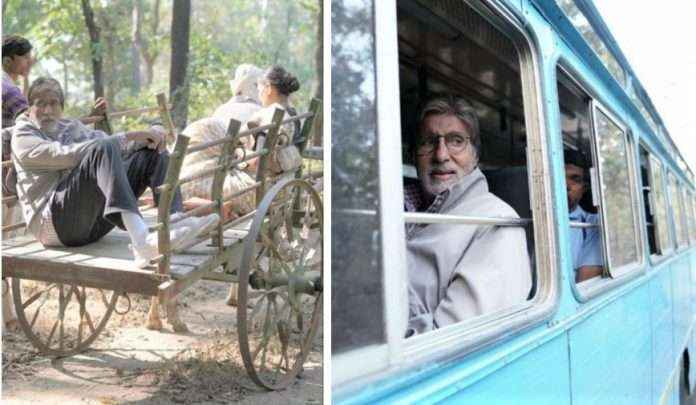 Amitabh Bachchan rides in bullock cart and bus for Jhund movie