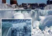 बर्फानं आच्छादलेला Niagara Falls