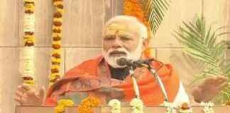 Prime Minister Narendra Modi lays the foundation stone of Kashi Vishwanath Temple Corridor