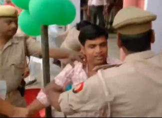 bjp workers beat an election official