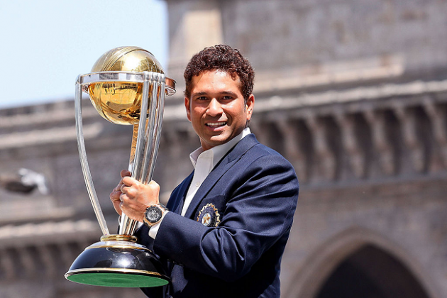 ICC Cricket World Cup Trophy, with the Gateway of India 2011