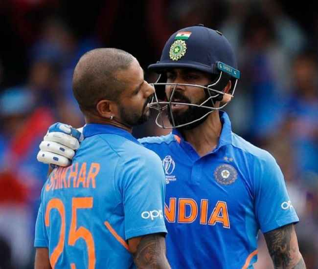 Shikhar Dhawan with Captain Virat Kohali