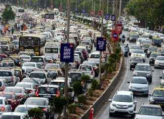 TRAFFIC JAM AT MARIN LINES FOR BASI EID