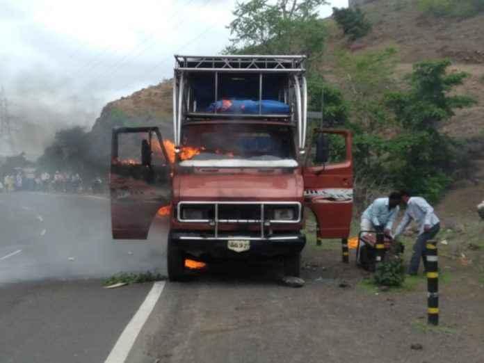 the burning DJ van