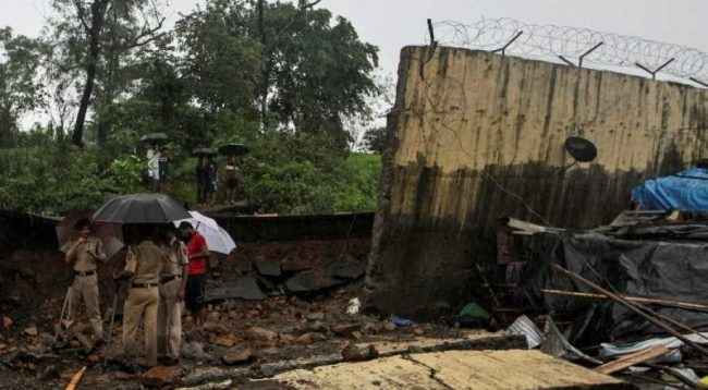 wall collapse again in malad near shivneri high school