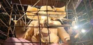 ganesh idol tejukaya 22 foot paper pulp