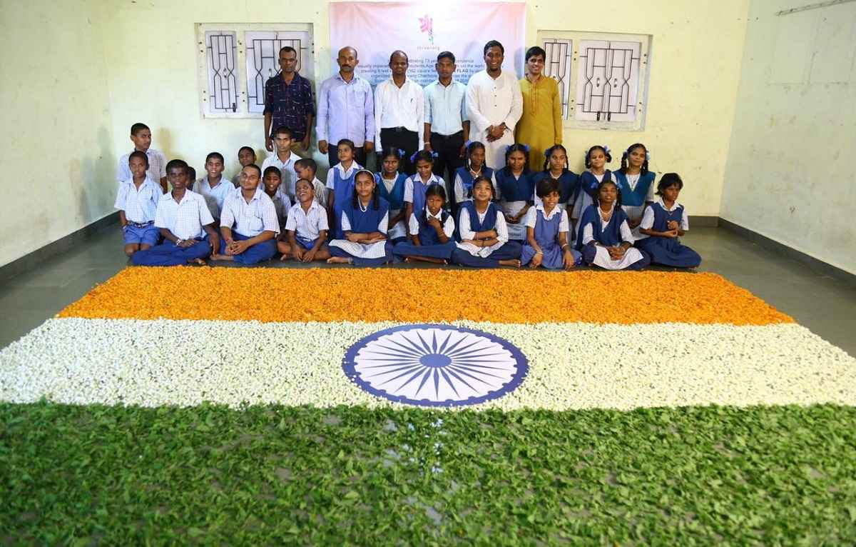 Physical disable students deorated by india flag flowers on the occasion of independence day