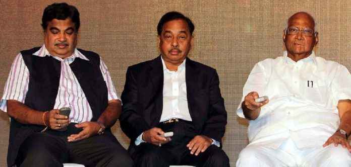 Nitin Gadkari Narayan Rane and Sharad Pawar book inaugaretion