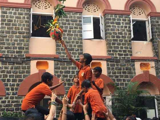 Shrimati kamla mehta school are celebrating Dahi Handi Festival for blind students