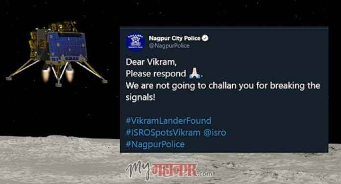 Won't challan you for breaking signal: Nagpur Police to Vikram Lander. Internet loves it
