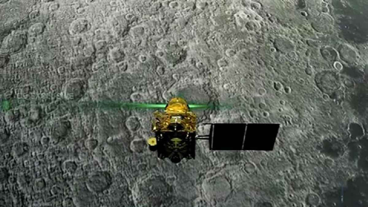 chandrayaan 2 isro good news vikram lander lying tilted on moon one piece