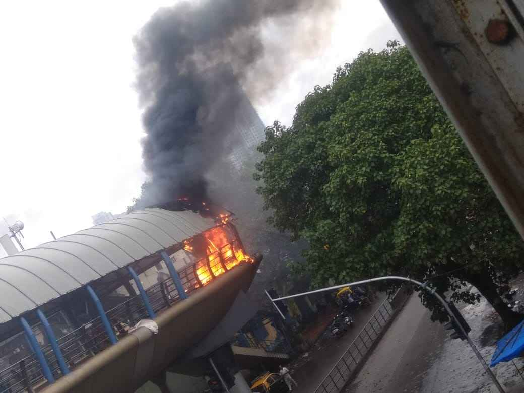 Fire at sky walk of Cotton Green Railway Station