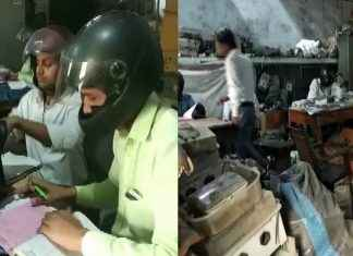 Government employees wear helmets in office building. The reason is not what you think