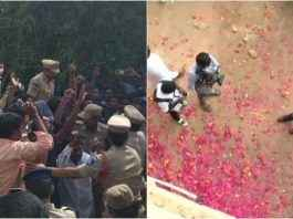 Locals had showered rose petals on Police personnel at the spot where accused in the rape and murder of the woman veterinarian were killed in an encounter