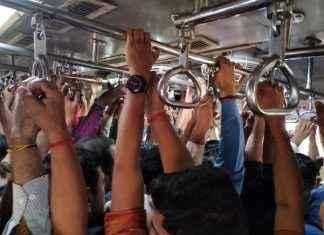 man in mumbai local train