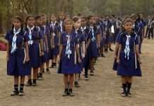 parade rehearsal in school for republic day