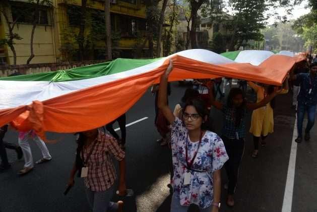new mumbai 1111 feet long tricolor rally