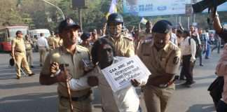 vanchit bahujan aaghadi workers protest for caa and nrc against in thane