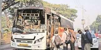 shivshahi bus got fire