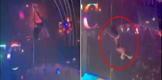 girl falls from a 15 foot high pole dancing in a cafe in texas usa video