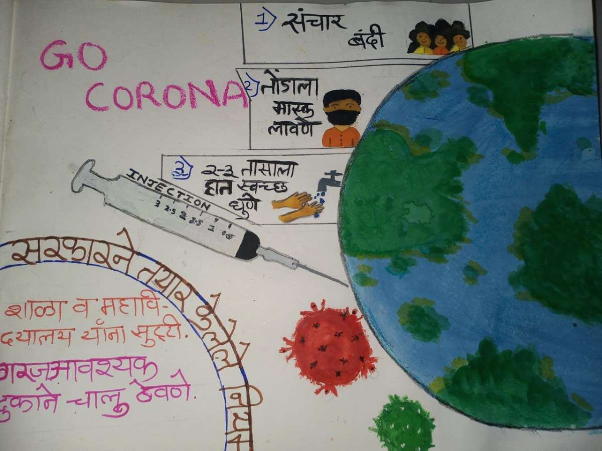 Students drawings the pictures of the Coronavirus