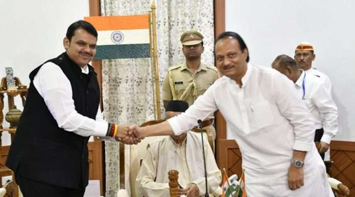 Devendra Fadnavis Ajit pawar taking oath