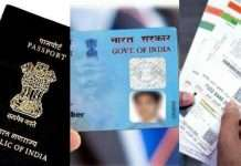 aadhar card, pan card and passport