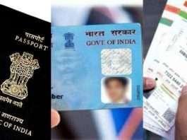 aadhar card, pan card and passport