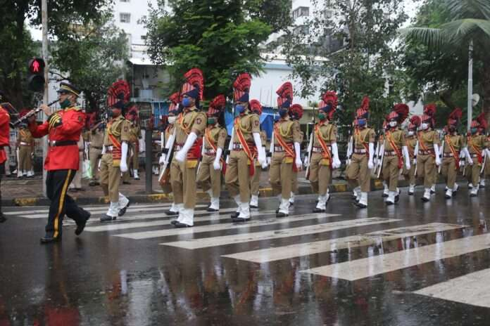 POLICE PRACTICE PARADE FOR INDEPENDENCE DAY NEAR MANTRALAYA