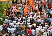 protest over removal of shivaji maharaj statue in belgaum karnataka