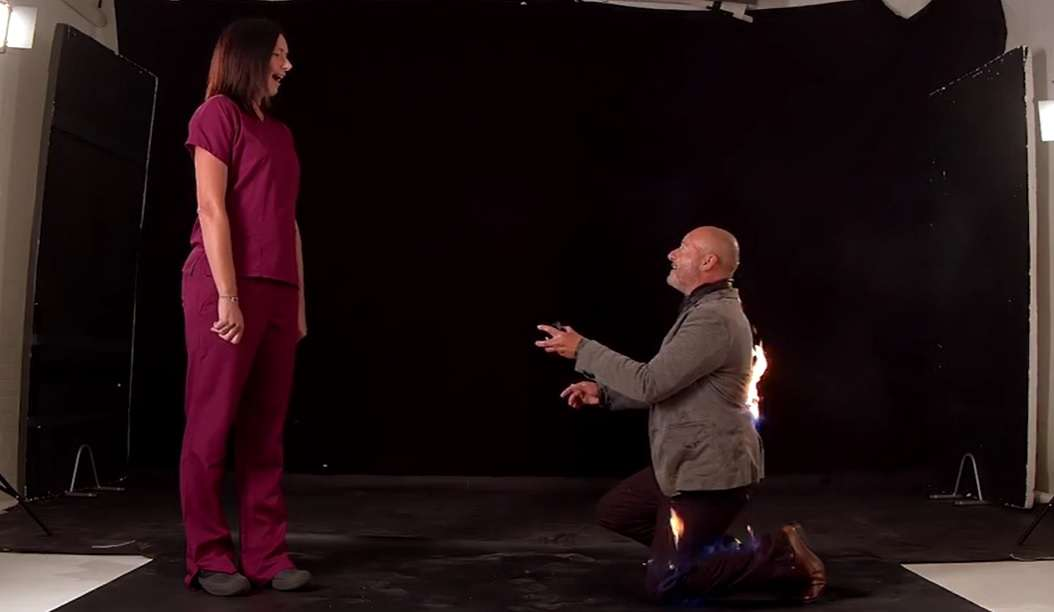 propose with fire on body viral