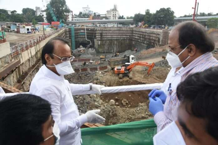Deputy Chief Minister Ajit Pawar reviewed ongoing construction work of Pune Metro earlier today