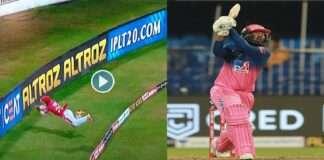ipl 2020 rr vs kxip rahul tewatiya hit 5 sixes poorans Amazing fielding