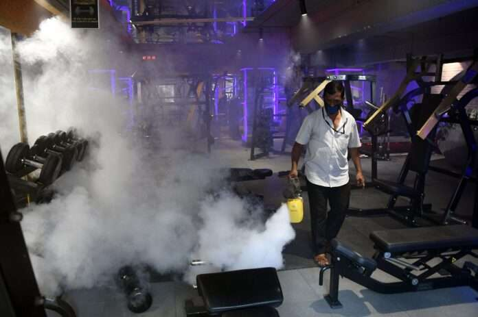 sanitize on the material in Nitro Gym in Thane today