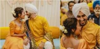 neha kakkar haldi ceremony rohanpreet romantic pose looks gorgeous