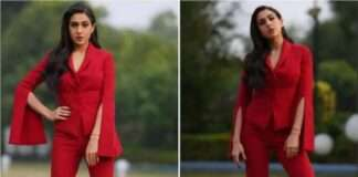 Sara Ali Khan Stuns in Red Pantsuit Worth Rs 1,32,371 at Coolie No. 1 Trailer Launch